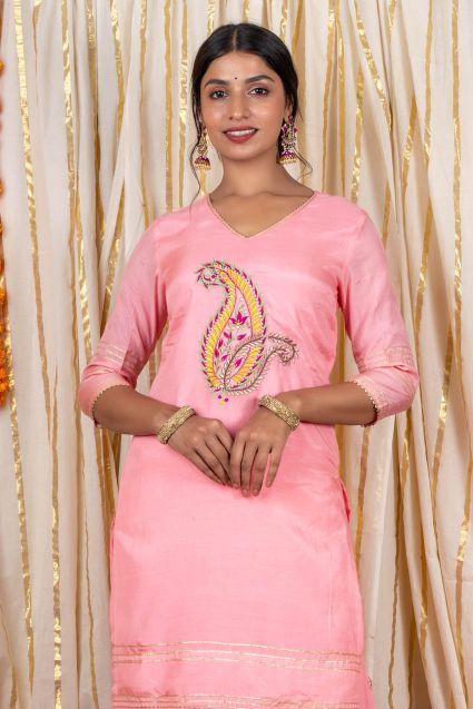 Creamy Pink Muslin Silk Kurta