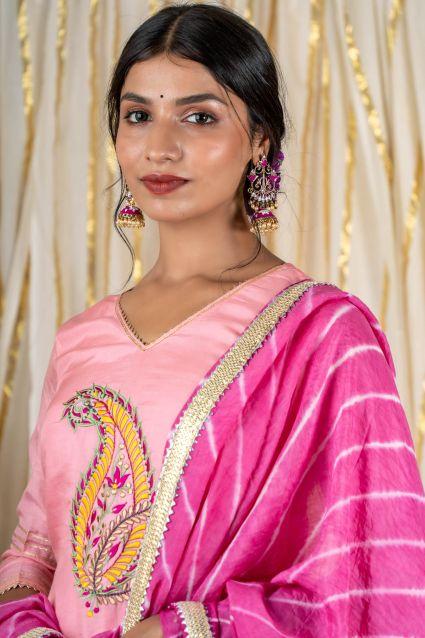 Dove Pink Muslin Silk Sharara Set