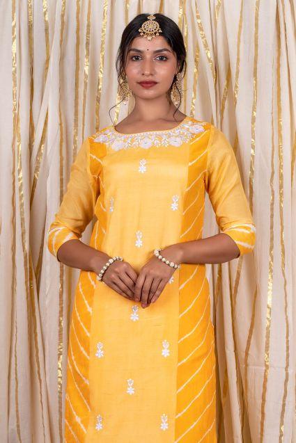 Sunflower Yellow Muslin Silk Kurta