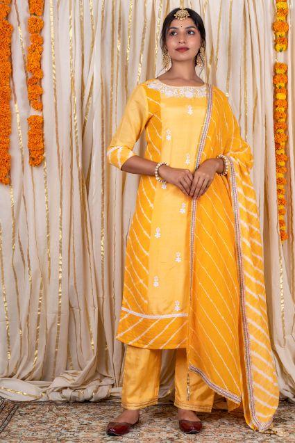 Sunflower Yellow Muslin Silk Kurta Pant Dupatta Set