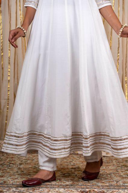 White Muslin Silk Anarkali Kurta
