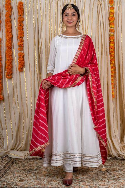 White Anarkali 3 Piece Suit Set
