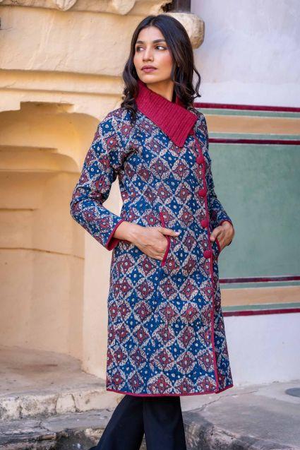 Ajrakh Blue Block Printed Quilted Bukhara Coat