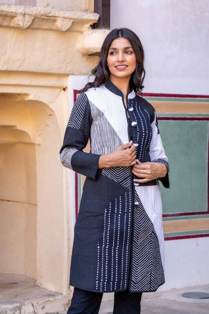 Black White Patch Work Quilted Long Coat