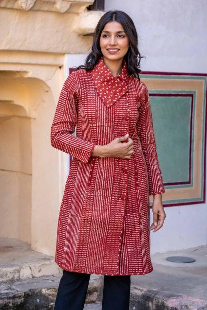 Natural Red Block Printed Quilted Bukhara Coat