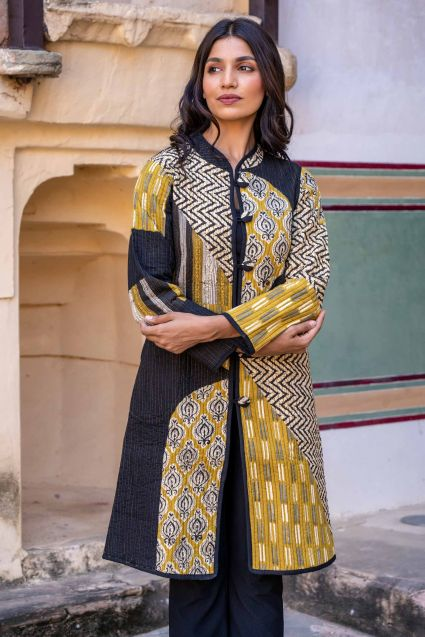 Bagru Mustard Patch Work Quilted Long Coat
