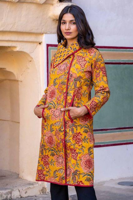 Golden Mustard Block Printed Quilted Bukhara Coat