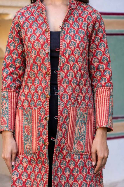 Green Red Reversible Quilted Coat
