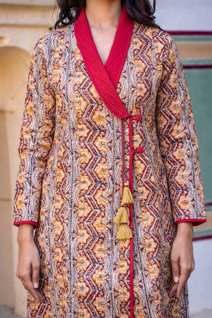Floral Kalamkari Block Printed Quilted Bukhara Coat