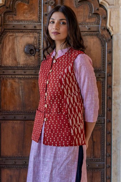 Bagru Red Reversible Cotton Quilted Sleeveless Jacket