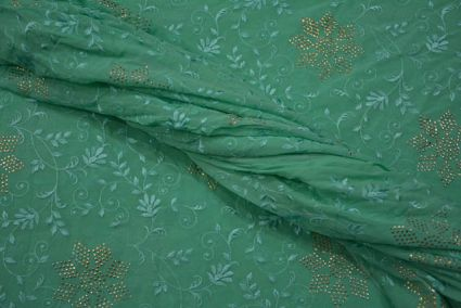 Aqua Green And Golden Floral Embroidery Georgette Fabric