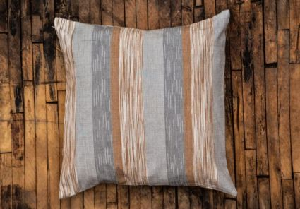 Grey And Brown Ikat Cushion Cover