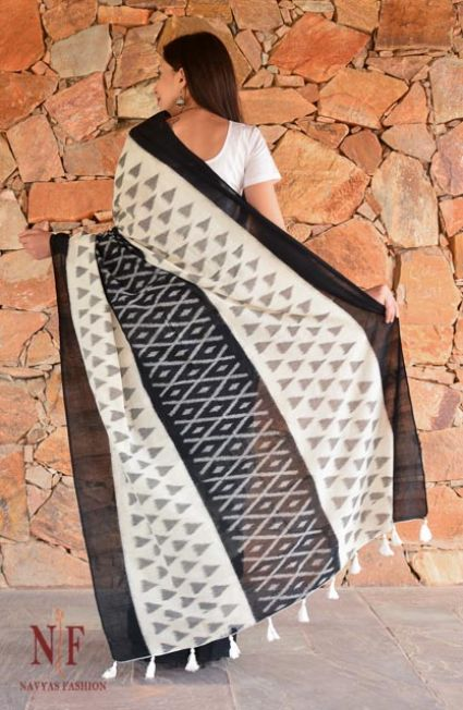 Black And White Ikat Sarees