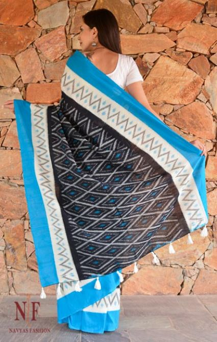 Tricolor Ikat Sarees Cotton