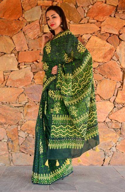 Green Block Printed Cotton Sarees