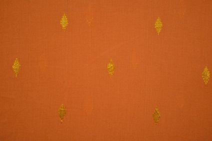 Dusty Orange Golden Zari Buti Cotton Fabric