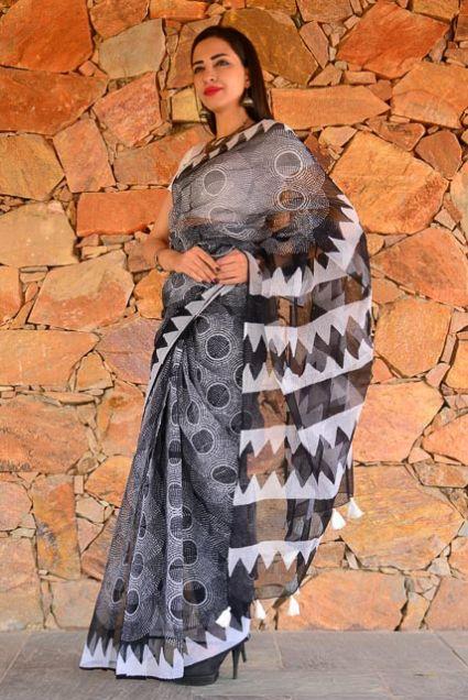 Black And White Block Printed Cotton Kota Doria Saree