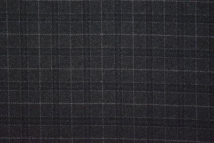 Dark Grey Checks Tweed Wool Fabric