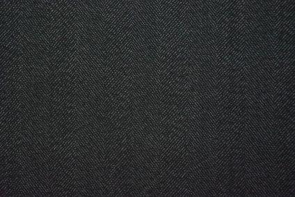 Black Herring Bone Tweed Wool Fabric