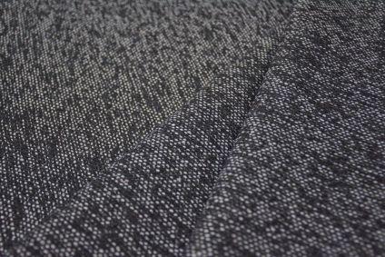 Black White Tweed Wool Fabric