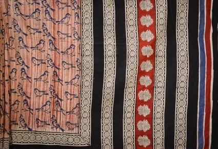 Bird Bagru Print Cotton Sarees