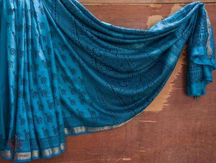 Porcelain Blue Handloom Women's Mulberry Silk Sarees