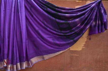 Charisma Purple Handloom Women's Mulberry Silk Sarees