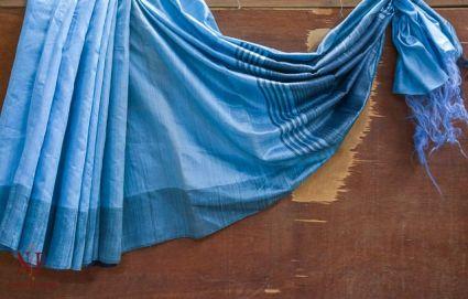 Airy Blue Handloom Women's Pure Dupion Silk Sarees