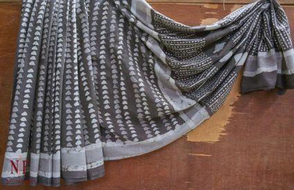 Kashish Grey Block Printed Cotton Sarees