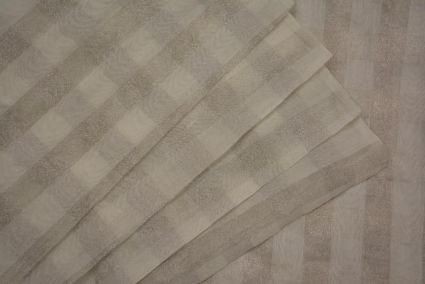 Off White And Silver Checks Banarasi Zari Tissue Silk Fabric