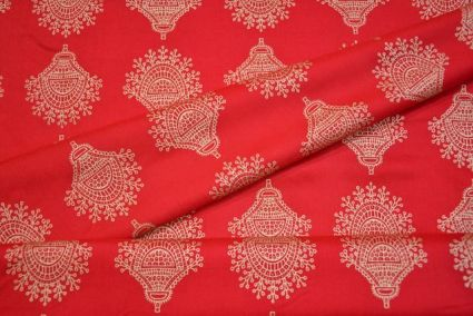 GOLD PRINTED RED INDIAN rayon FABRIC-HF1783