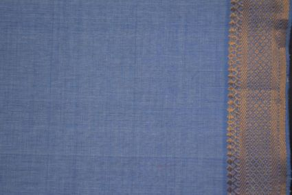 Blue Heron Zari Bordered Mangalgiri Pure Handloom Cotton Fabric