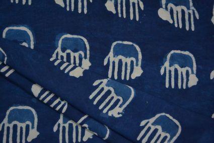 INDIGO ELEPHANT BLOCK PRINT RAYON FABRIC-HF3983