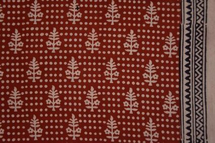Red Ochre Floral Bagh Block Printed Cotton Fabric