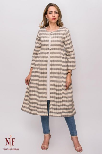 Grey Checks Organic Handloom Khari Cotton Long Shrug