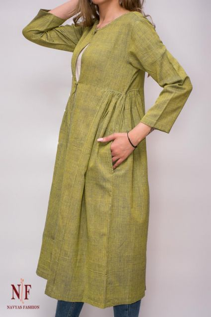 Green Yellow Handwoven Long Shrug