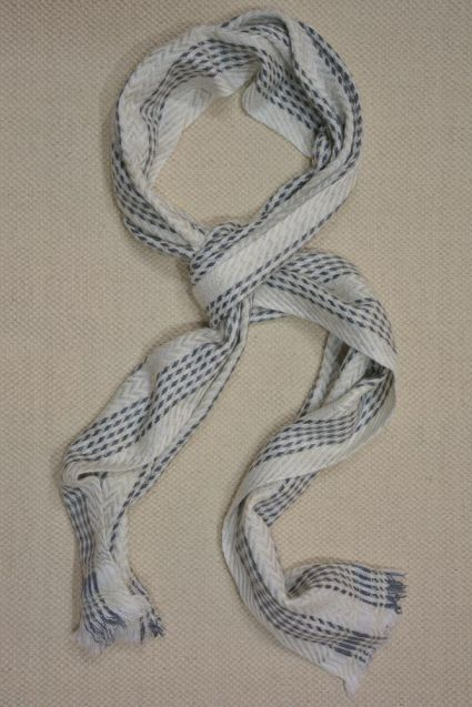 White And Grey Self Designer Cashmere Wool Stole
