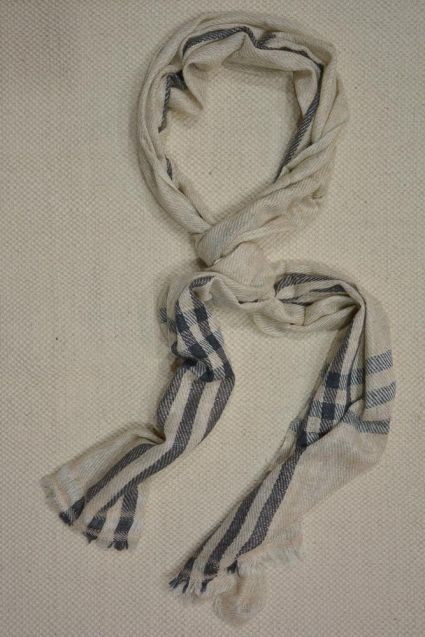 Beige And Black Checks Cashmere Wool Stole
