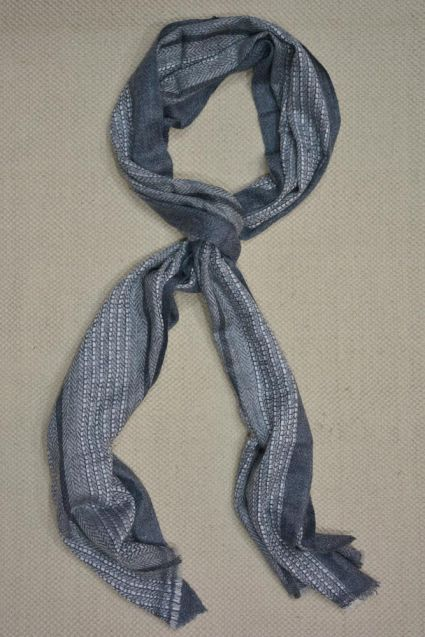 Grey And White Designer Cashmere Wool Stole