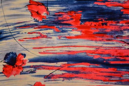 RED FLORAL BRUSH FINE RAYON FABRIC-RF10