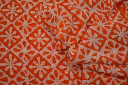 Camellia Orange Block Printed Georgette Fabric