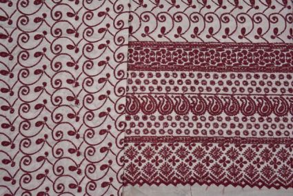 Maroon Embroidered Indian Cotton Fabric