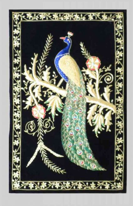 HAND EMBROIDERED PEACOCK INDIAN WALL TAPESTRY MANUFACTURER
