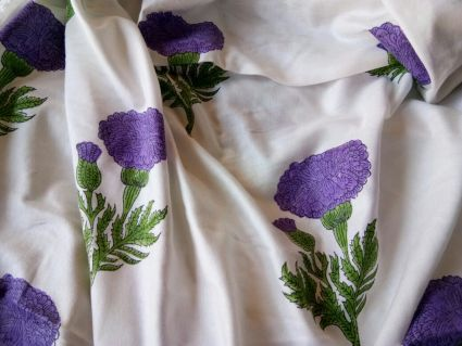WHITE AND PURPLE FLORAL RAYON FABRIC-HF895