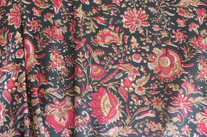 BLACK AND RED PAISLEY POLYESTER SATIN FABRIC-PS6