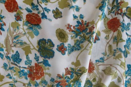 BLUE RED FLORAL POLYESTER SATIN FABRIC-PS12