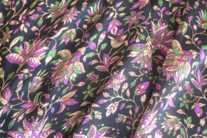 BLACK PURPLE FLORAL POLYESTER SATIN FABRIC-PS13
