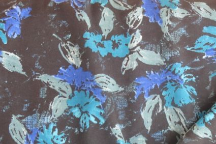 BLUE FLORAL POLYESTER FABRIC-PS16