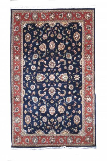 RED BORDERED BLUE HAND KNOTTED WOOL RUGS FROM INDIA