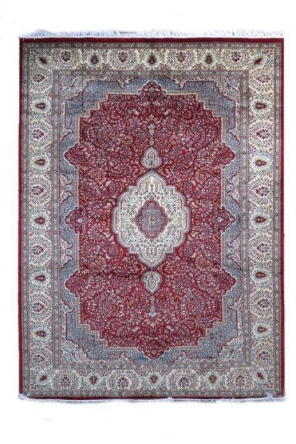 ANTIQUE RED CREAM HAND KNOTTED WOOL RUGS FROM INDIA